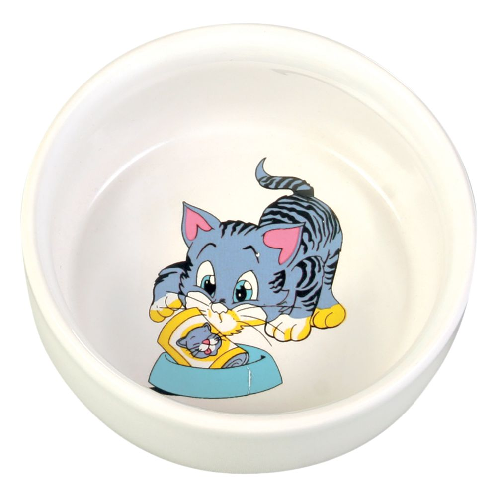 Trixie Ceramic Cat Bowl with Cartoon - 0.3 litre