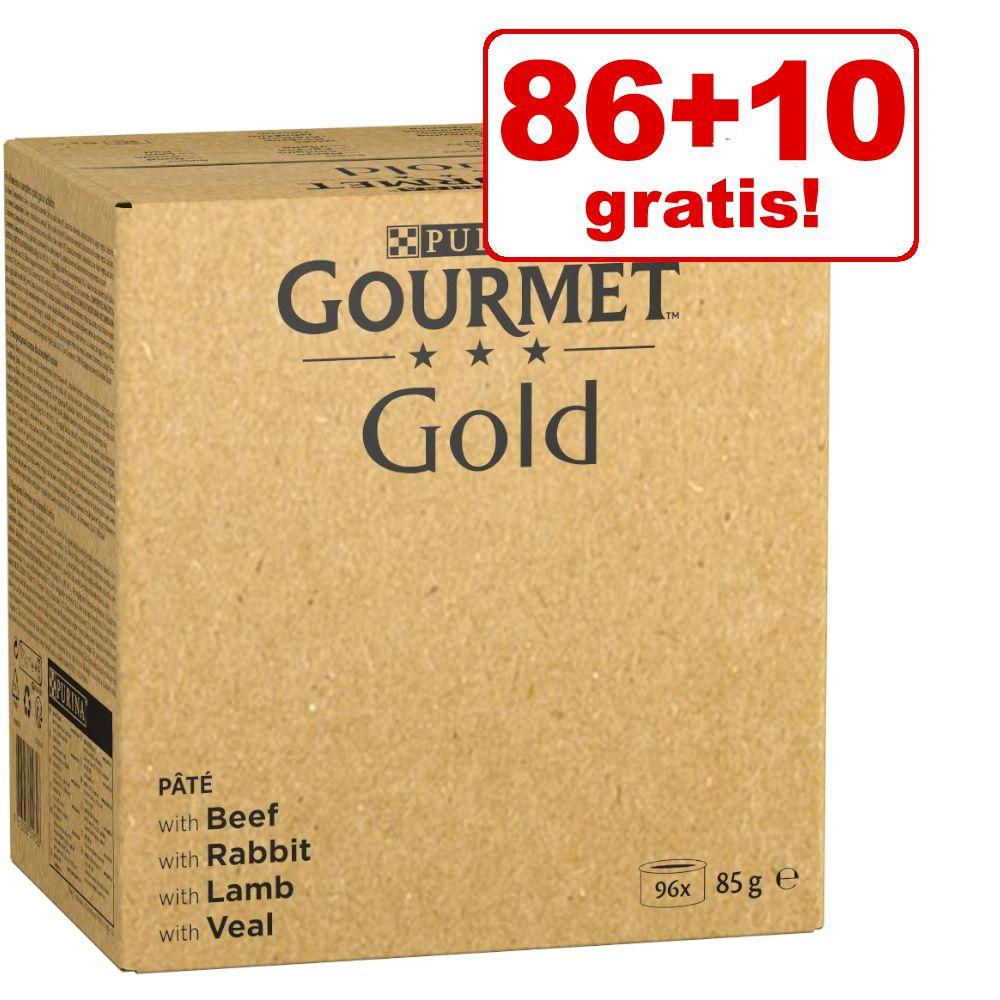 86 + 10 på köpet! 96 x 85 g Jumbopack Gourmet Gold - Fin paté: nötkött, kanin, lamm, kalvkött