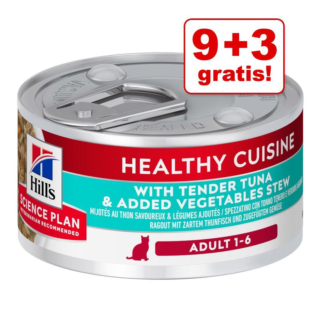 9 + 3 på köpet! 12 x 79 g Hill's Science Plan Adult Healthy Cuisine - Ragout Chicken & Vegetables