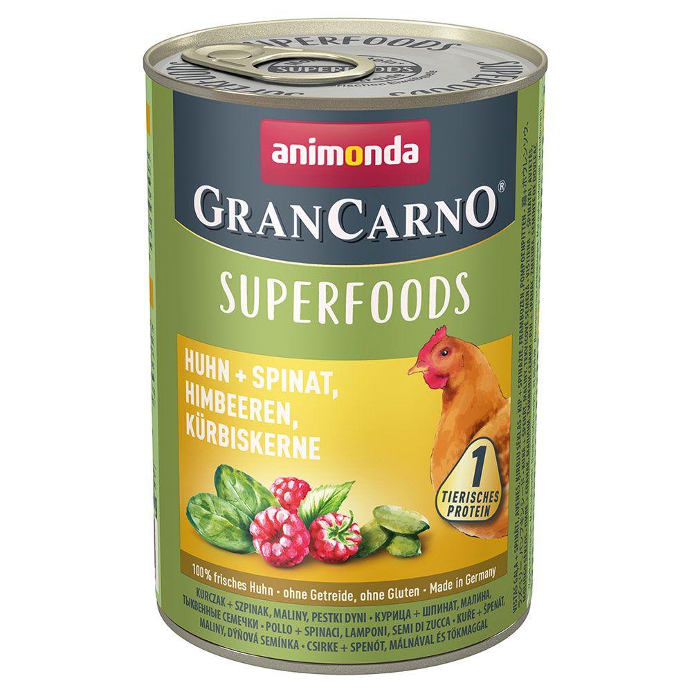 Animonda GranCarno Adult Superfoods 6 x 400 g Lamm & amarant, tranbär, laxolja