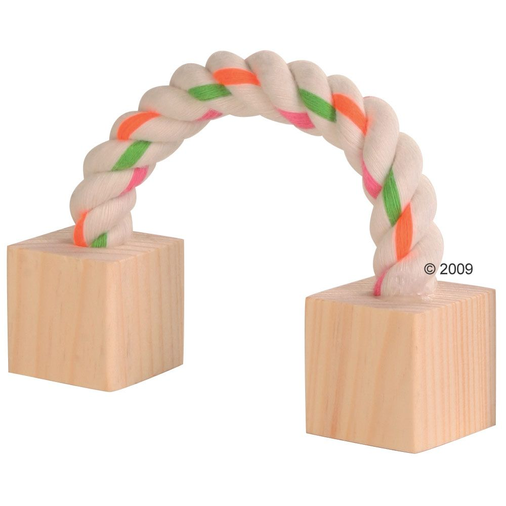 Corde de jeu en coton avec cubes de bois pour rongeur - L 20 cm (1 jouet)