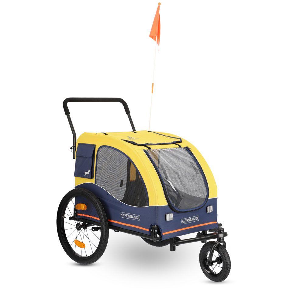 Remorque à vélo HAFENBANDE Cabby L avec 2 attelages - L 155 x l 74 x H 103 cm / jusqu'à 45 kg