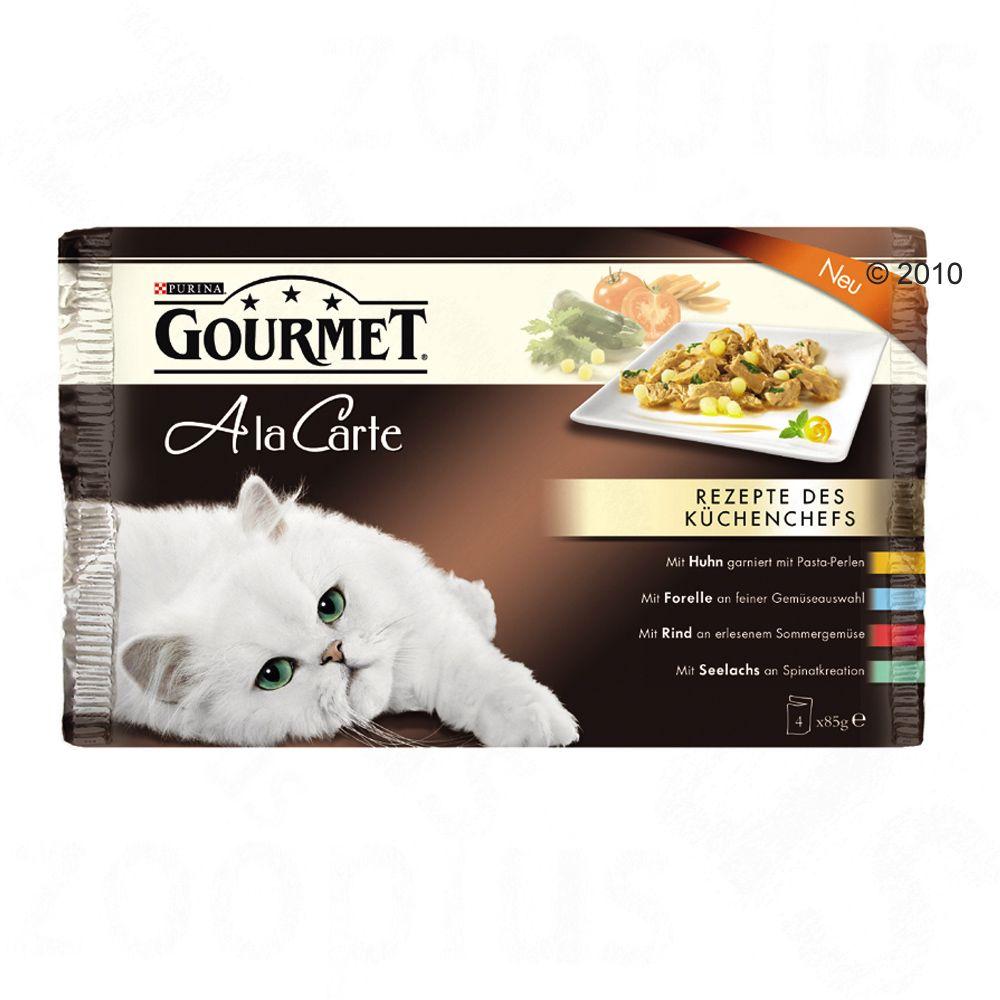 Multipack - Gourmet A la Carte 4 x 85 g - Huhn, Forelle, Rind, Seelachs