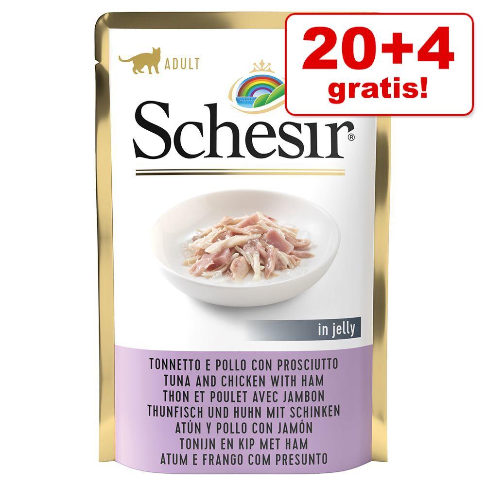 20 + 4 gratis! 24 x 85 g Schesir Katze Jelly Pouch - Thunfisch mit Quinoa