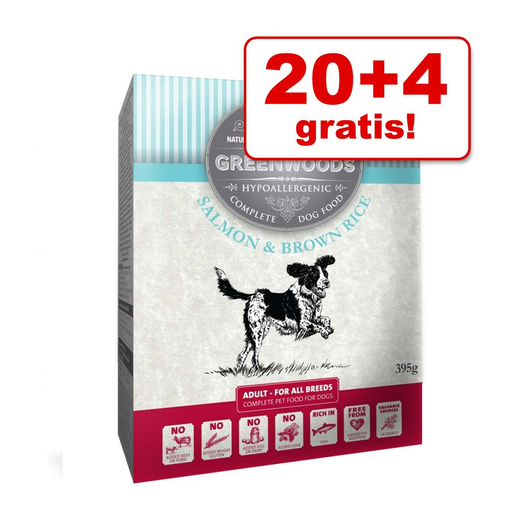 Foto 20 + 4 gratis! 24 x 395 g Greenwoods Adult - Salmone & Riso integrale