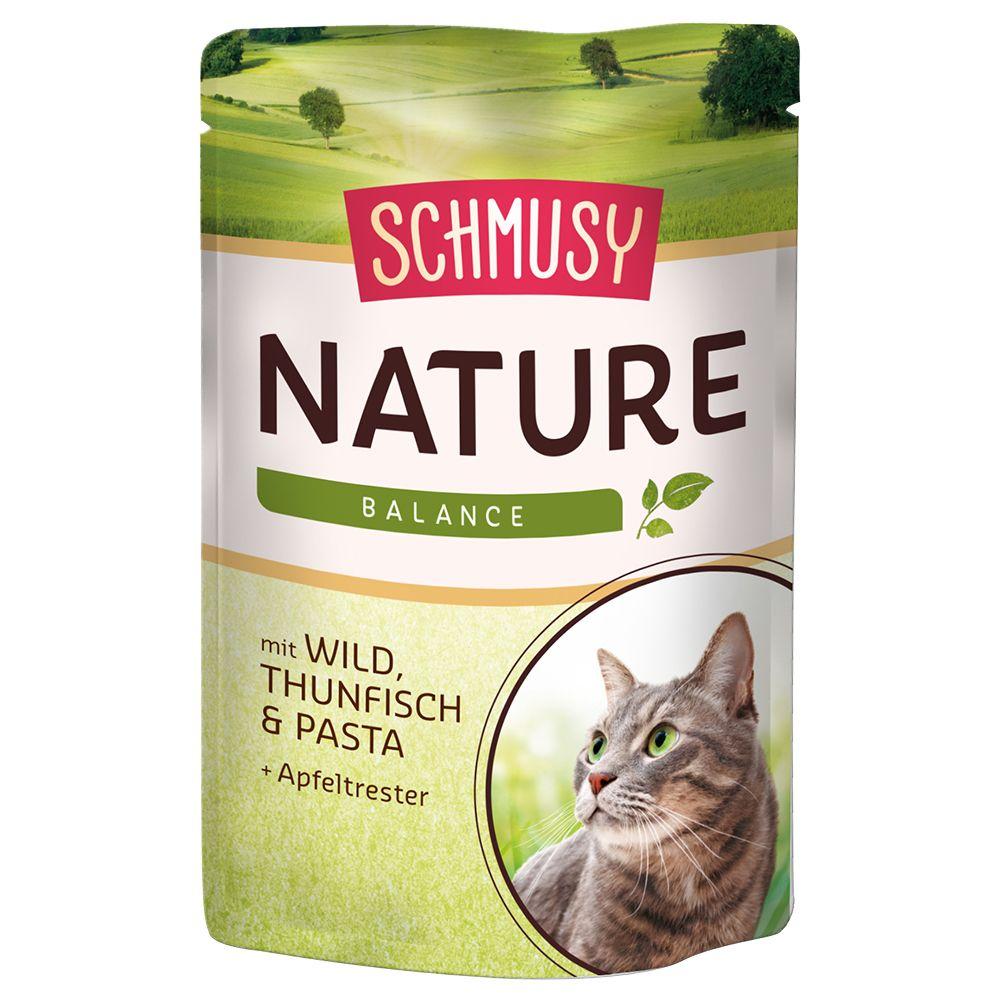 Schmusy Nature Balance i portionspåsar 12 x 100 g - Kyckling, lax, pasta & bryggerijäst