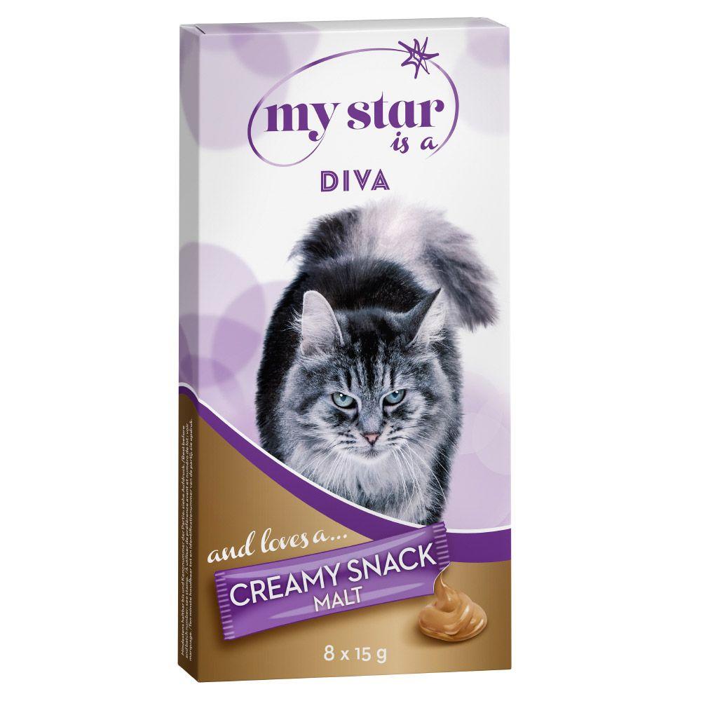My Star is a Diva Creamy Snack com malte para gatos - 8 x 15 g