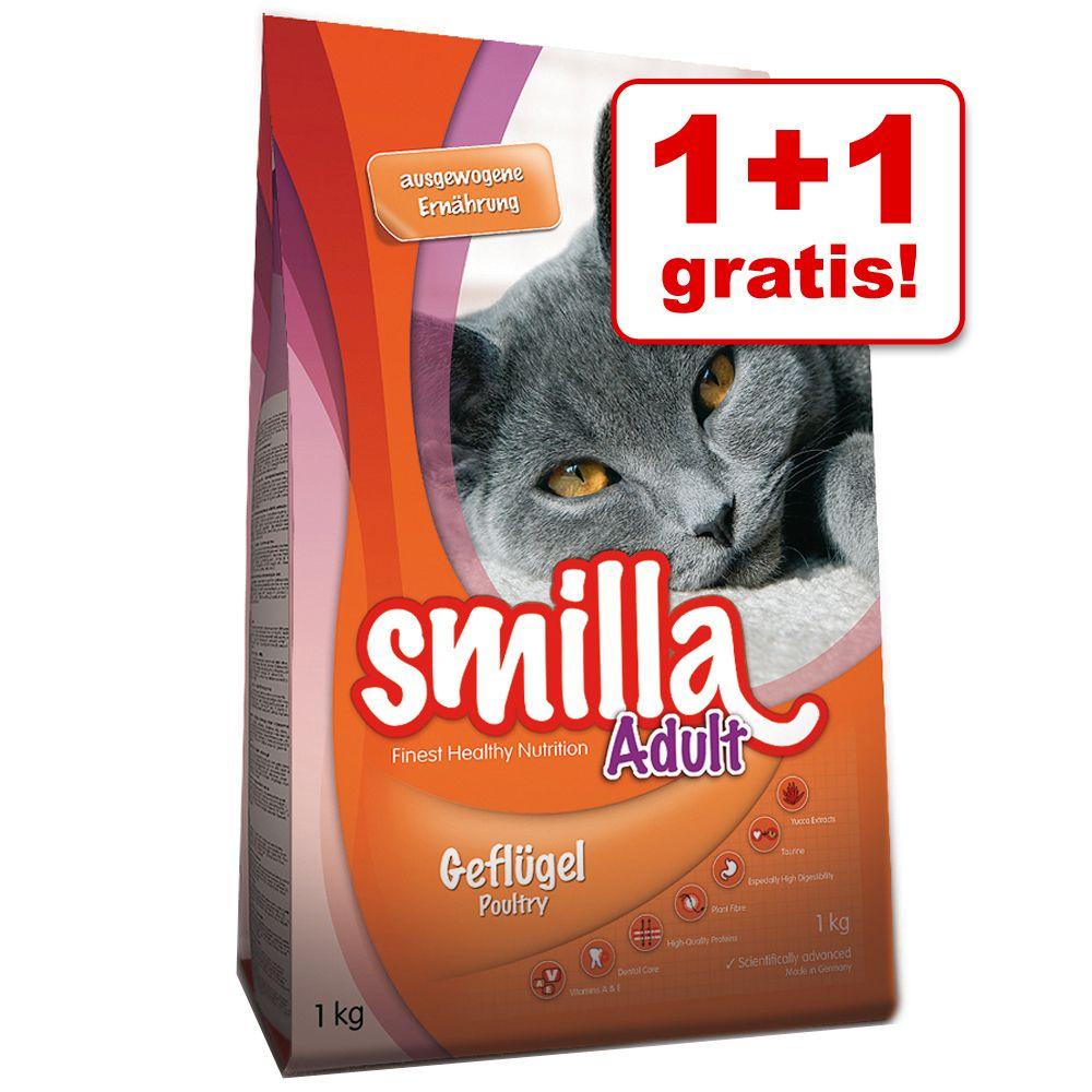 1 + 1 gratis! Smilla Trockenfutter 2 x 1 kg - Adult Geflügel