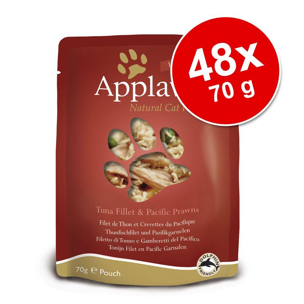48x70g Applaws Filet de thon/anchois Sachets pour chat