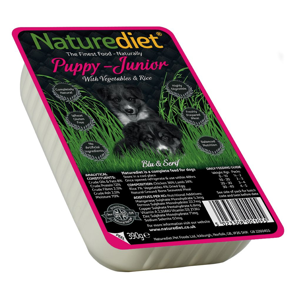 Naturediet Puppy & Junior - Chicken & Lamb with Veg & Rice - Saver Pack: 36 x 390g