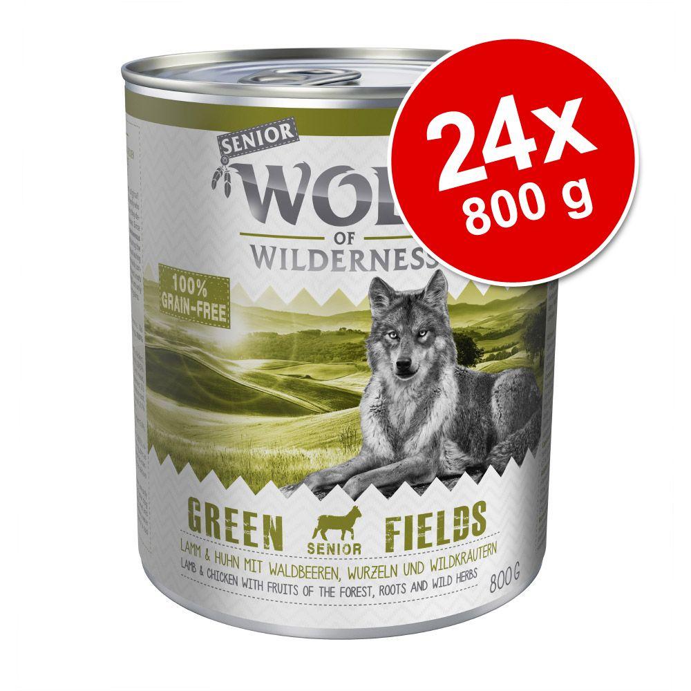 Ekonomipack: Wolf of Wilderness Senior 24 x 800 g - Green Fields - Lamb & Chicken