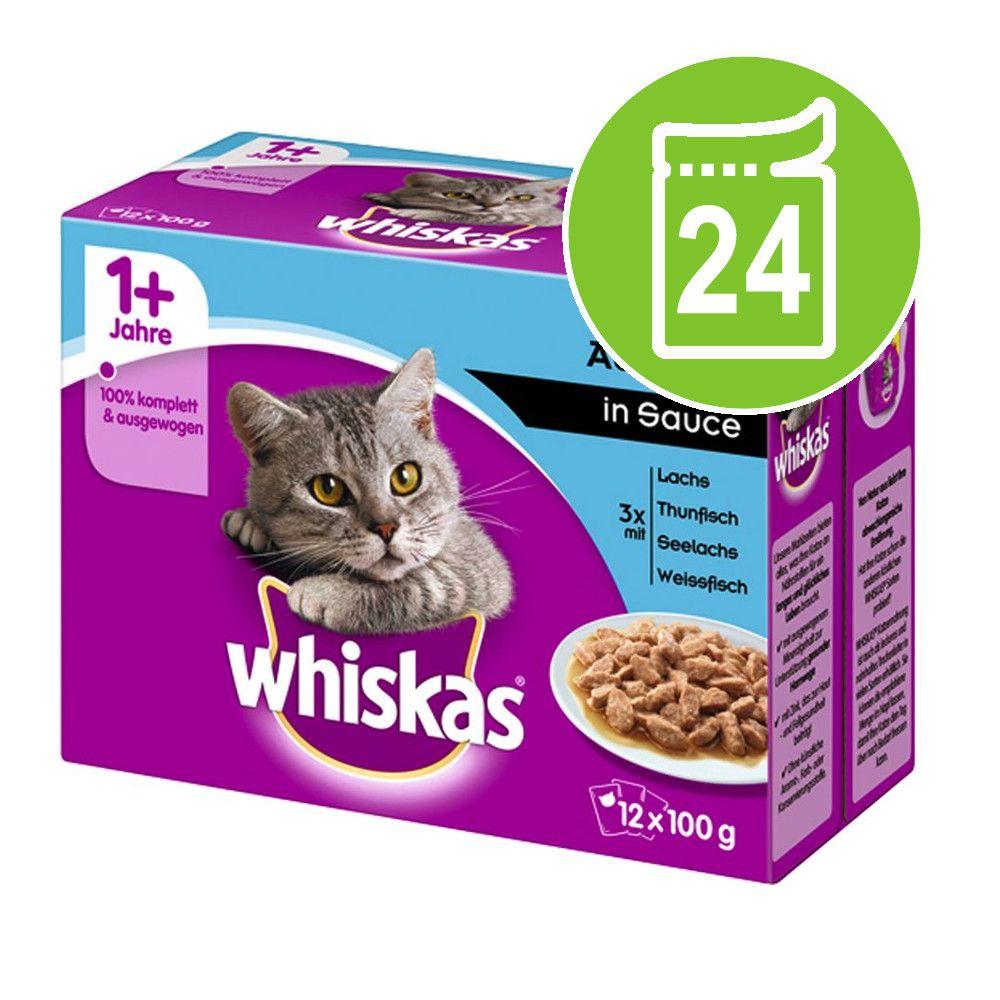 Ekonomipack: Whiskas 1+ portionspåse 24 x 85 g / 100 g - Blandpack: Fågelurval i gelé + Kötturval i sås