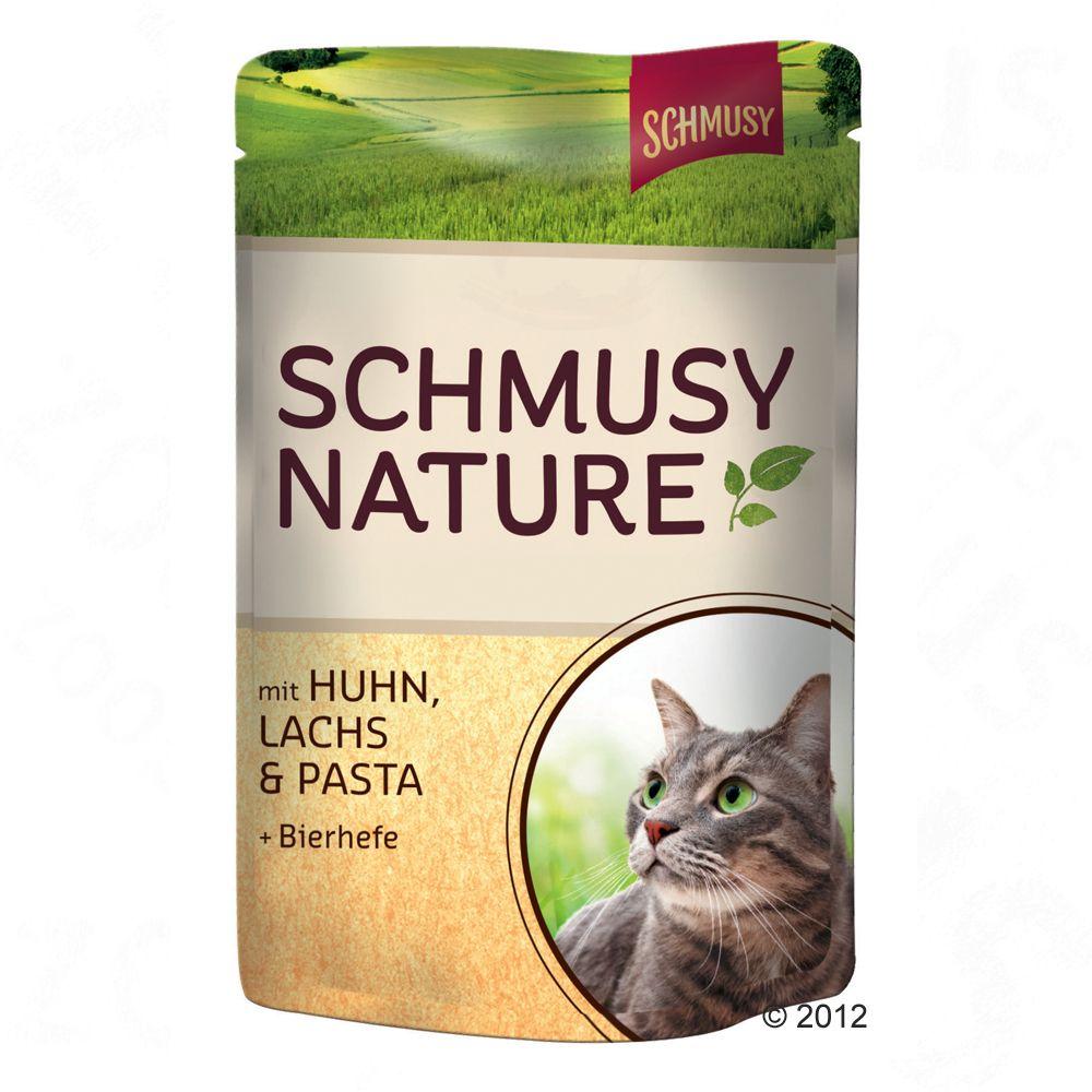 Schmusy Nature w saszetkach, 12 x 100 g - Wołowina, drób, ryż i ekstrakt z granatu