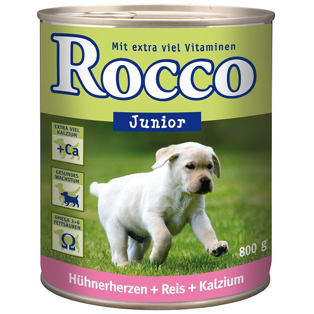 Rocco Junior Saver Pack 24 x 800g - Chicken Hearts, Rice & Calcium