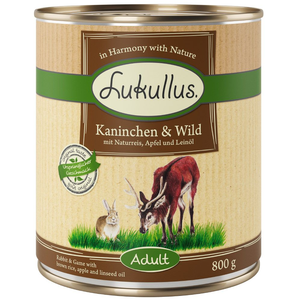 24 x 800g Lukullus Wet Dog Food - £5 Off!* - Rabbit & Game