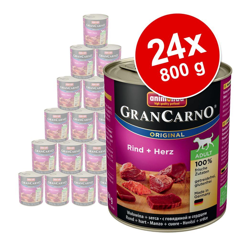 Megapakiet Animonda GranCarno Original Adult, 24 x 800 g - Wołowina i kacze serca