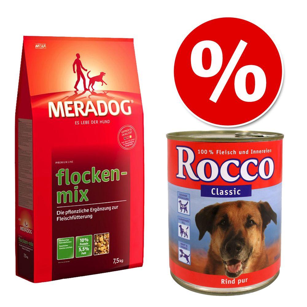 Kombi-Paket: 7,5 kg Meradog Flockenmix + 6 x Rocco Classic - Rind mit Geflügelherzen (6 x 400 g)