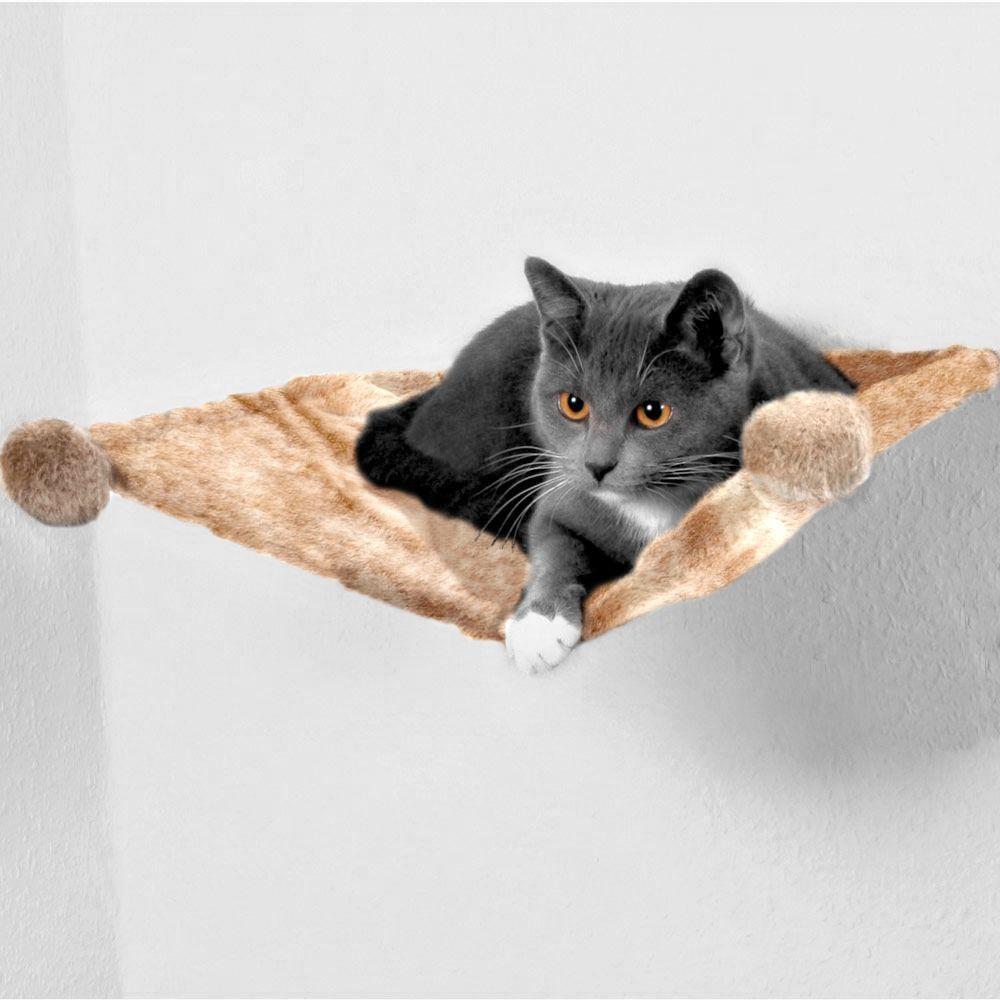 Trixie Hängmatta i plysch för väggmontering - B 42 x D 41 x H 15 cm
