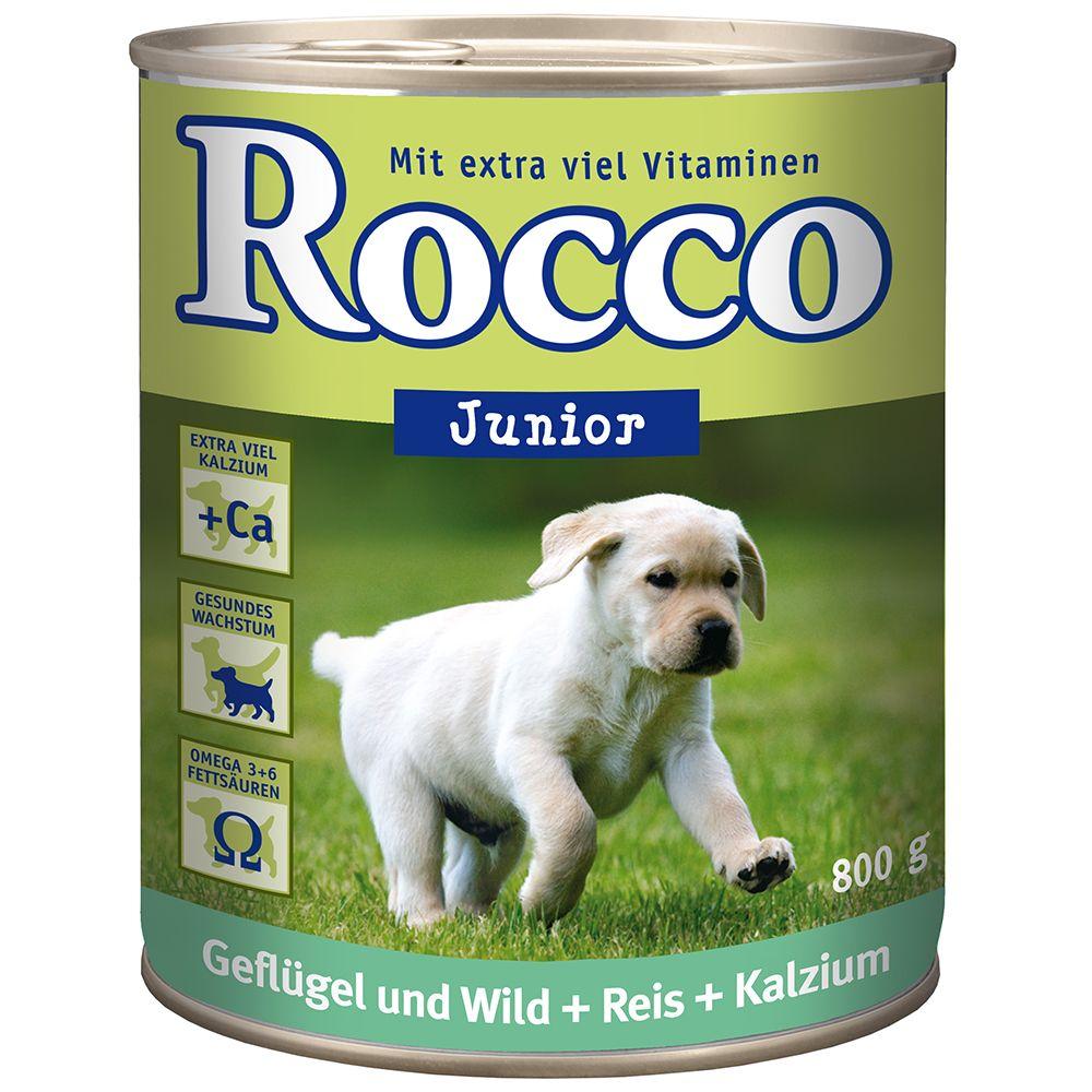 Rocco Junior, 6 x 800 g - Kurczak i dziczyzna z ryżem i wapniem
