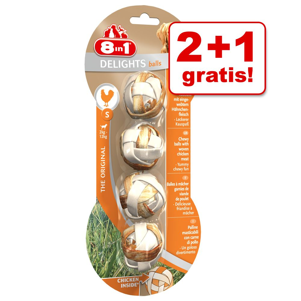 2 + 1 gratis! 8in1 Delights Kaubälle, Kausticks...