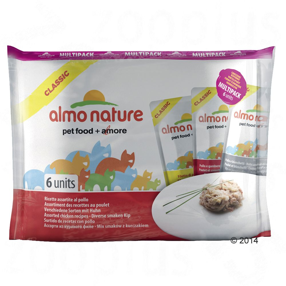 Image of 6 x 55 g Mixpaket: Almo Nature Classic - mit 3 Sorten Thunfisch in Jelly