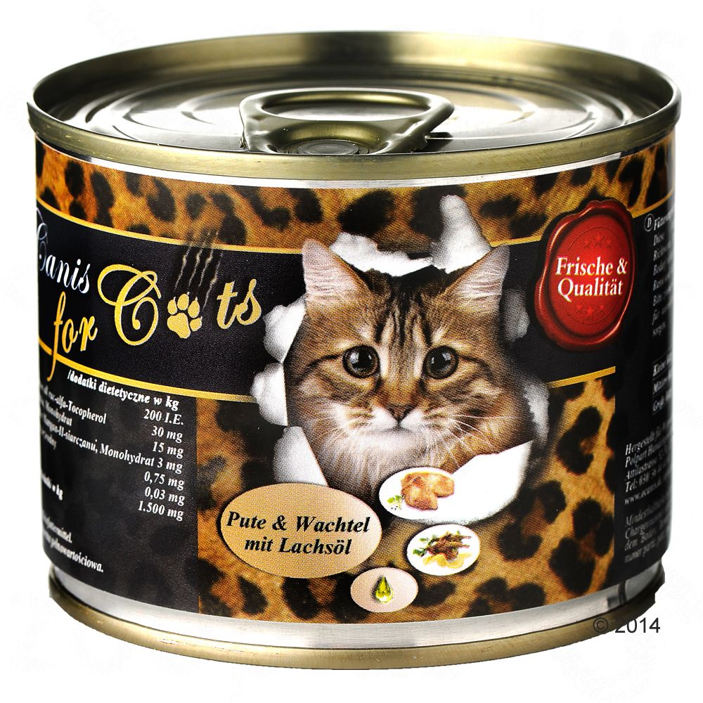O´Canis karma dla kota, 6 x 200 g - Indyk, przepiórka i olej z łososia