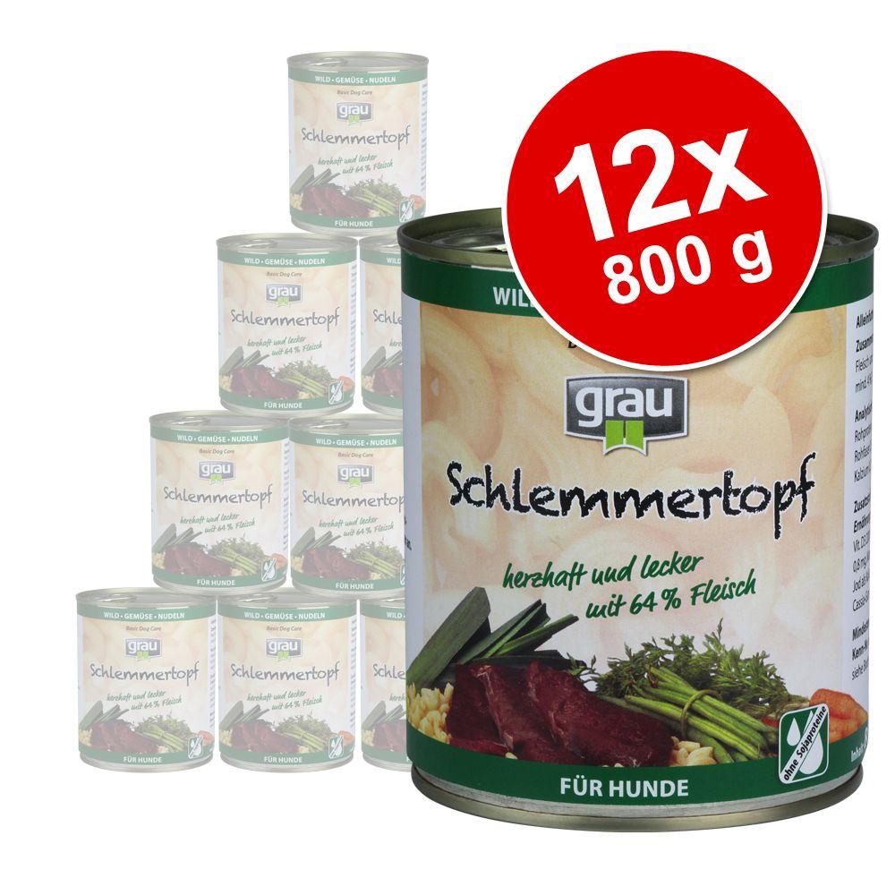 Sparpaket Grau Schlemmertöpfe 12 x 800 g - Wild mit Gemüse & Nudeln