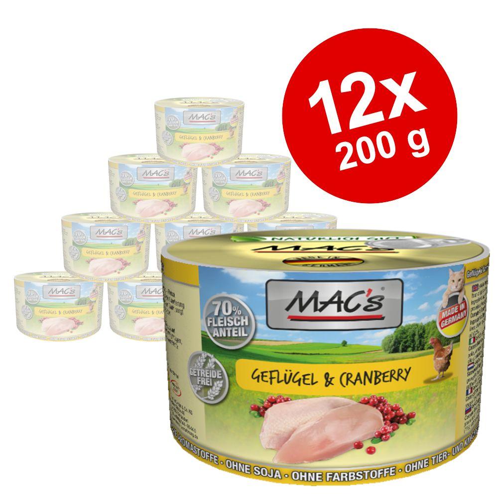 Ekonomipack: MAC's Cat kattfoder 12 x 200 g - Fjäderfä & tranbär