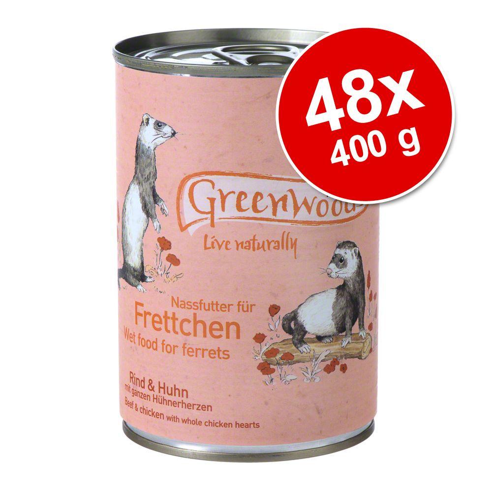 Megapack: Greenwoods våtfoder för illrar 48 x 400 g - Nötkött & kyckling