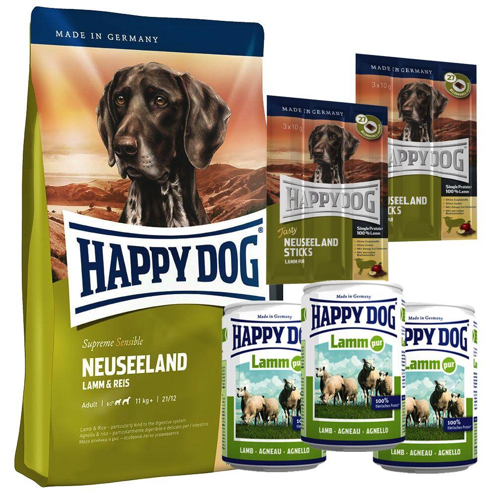 Provpack: Happy Dog New Zeeland torr- & våtfoder + snack – 4 kg + 3 x 400 g + 6 x 10 g