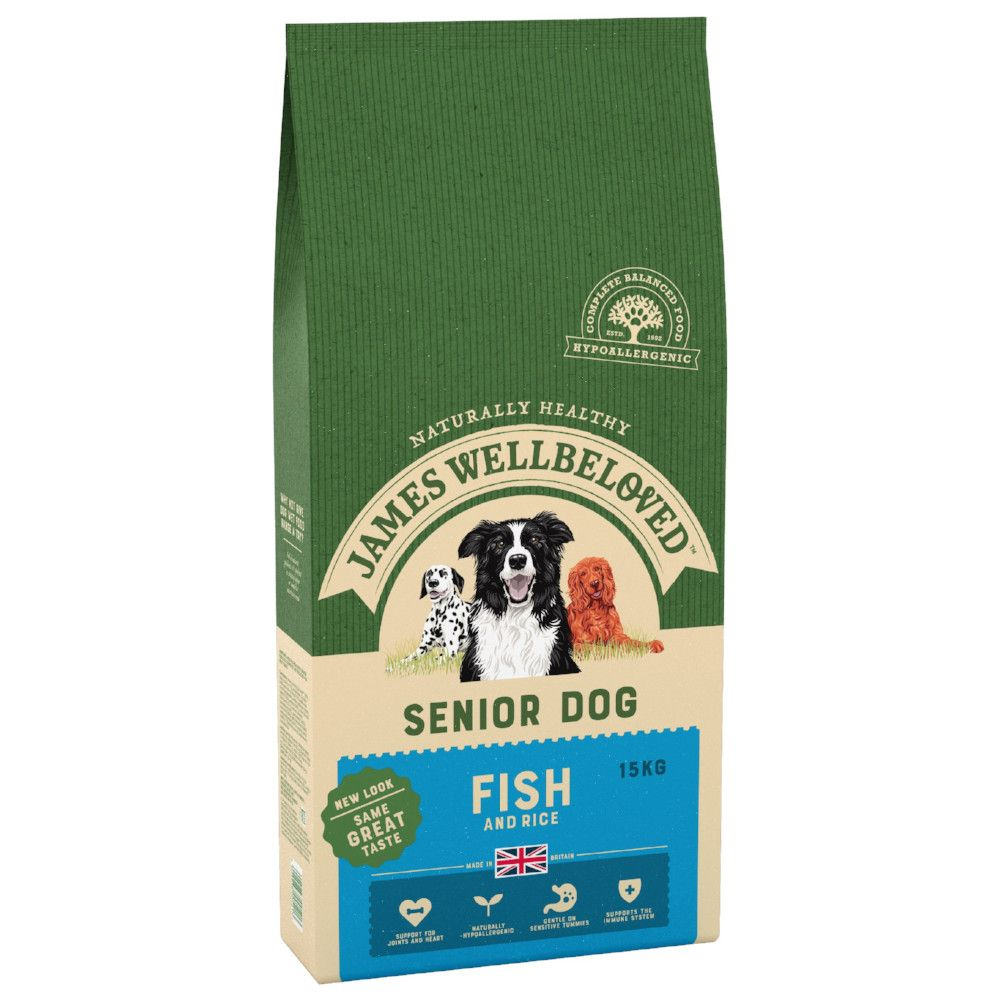 15kg Senior Fish & Rice James Wellbeloved Dry Dog Food