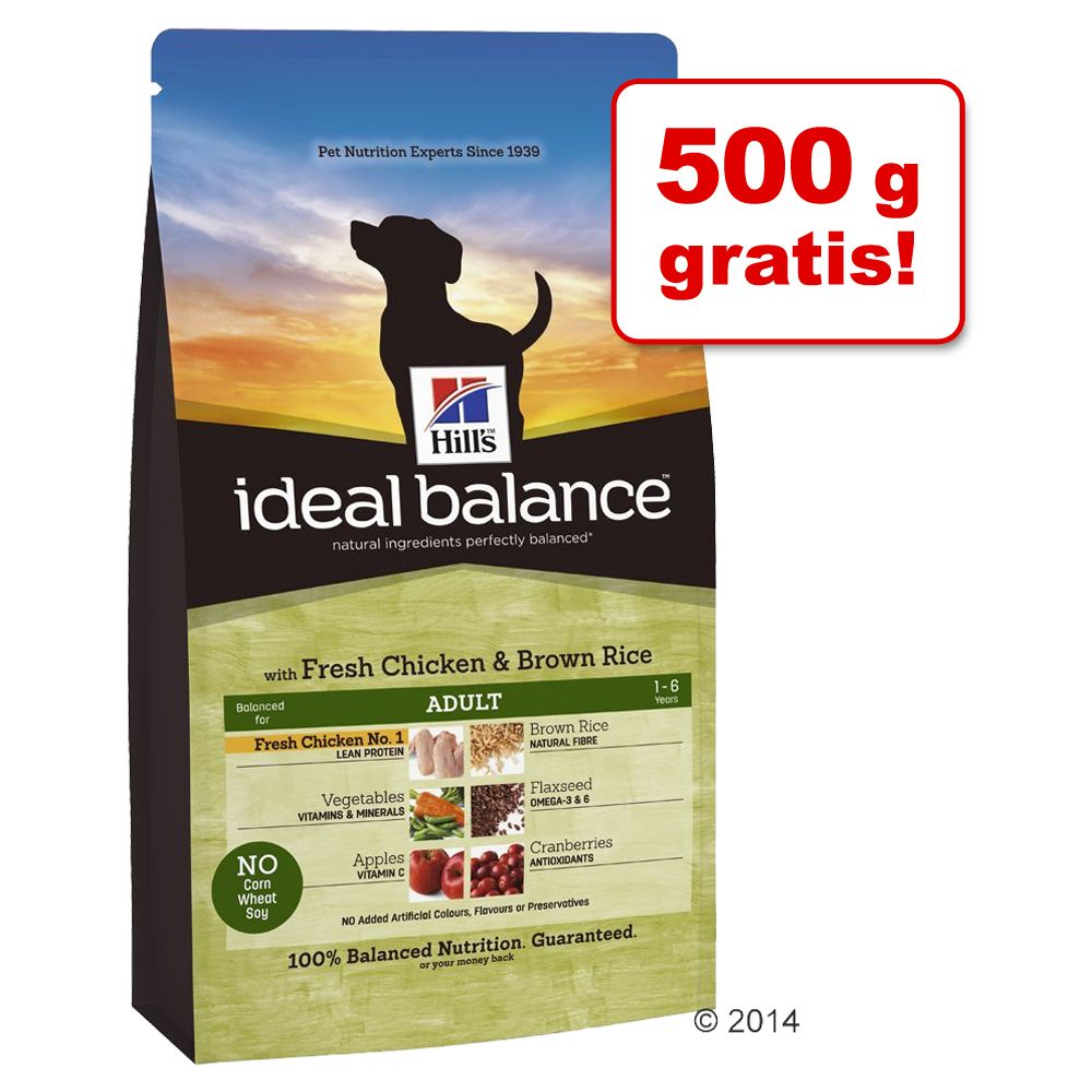 1,5 kg + 500 g gratis! 2 kg Hill´s Ideal Balance! - Adult Small Breed Huhn & Reis