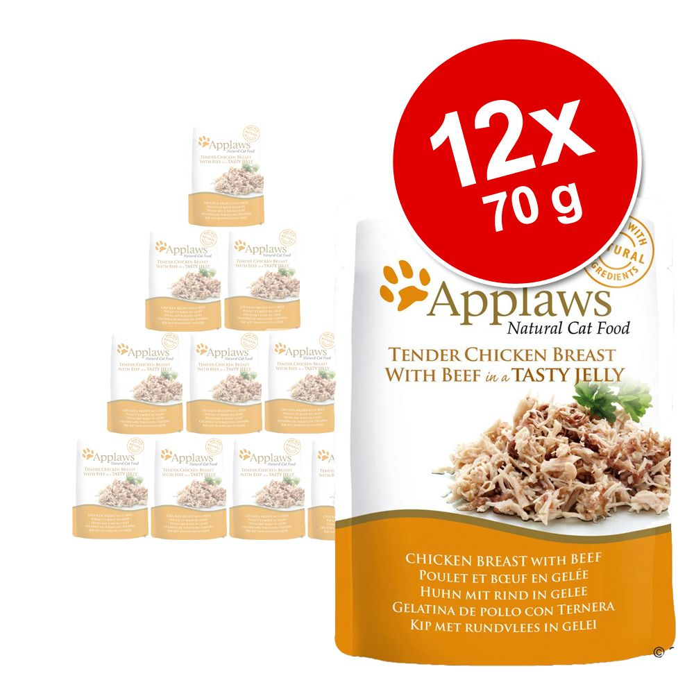 Sparpaket Applaws Pouch in Jelly 12 x 70 g - Huhn mit Rind