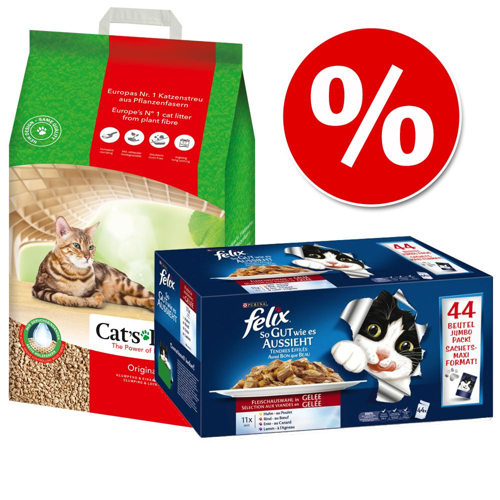 Poskusni paket: 20 l Cats Best Eko (Original) + Felix mokra hrana - Cat's Best Eko Plus + 88 x 100 g Felix