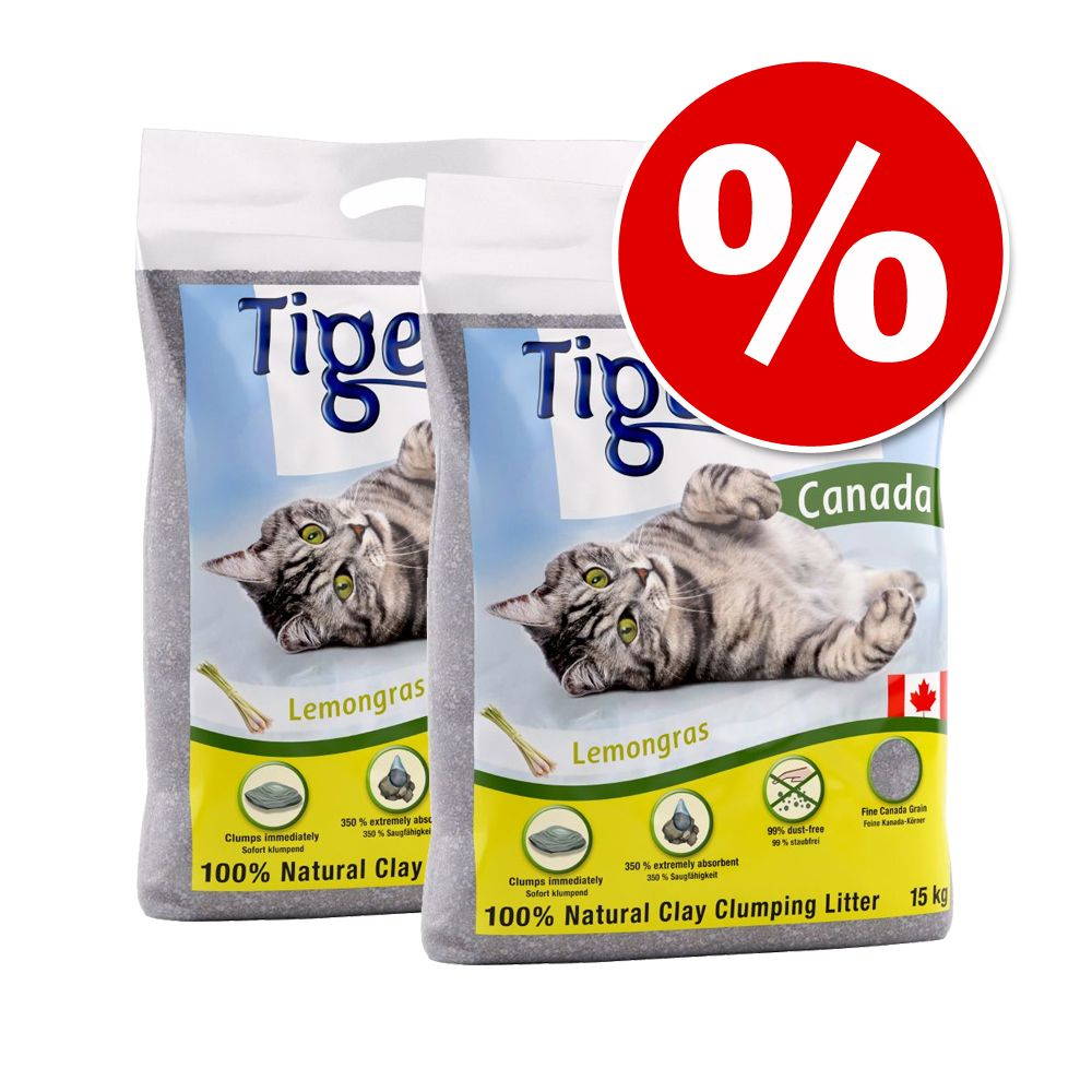 Ekonomipack: 2 x 12 kg Tigerino Canada kattströ - Limited Edition: Almond Milk & Honey