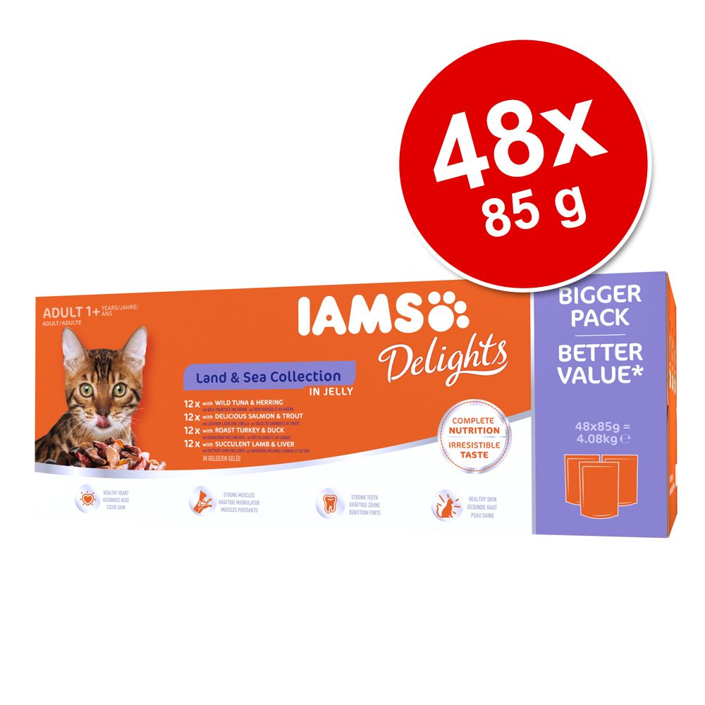 Ekonomipack: IAMS Delights Adult 48 x 85 g - Land & Sea mix i sås