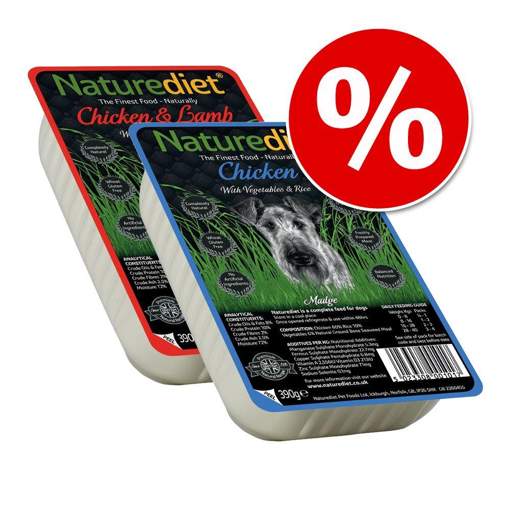 Blandpack: 36 x 390 g Naturediet hundfoder - Chicken + Chicken & Lamb