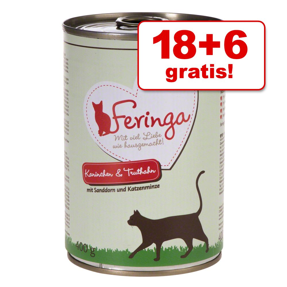 18 + 6 på köpet! 24 x 400 g Feringa Menu Duo - Kanin & kalkon med havtorn & kattmynta