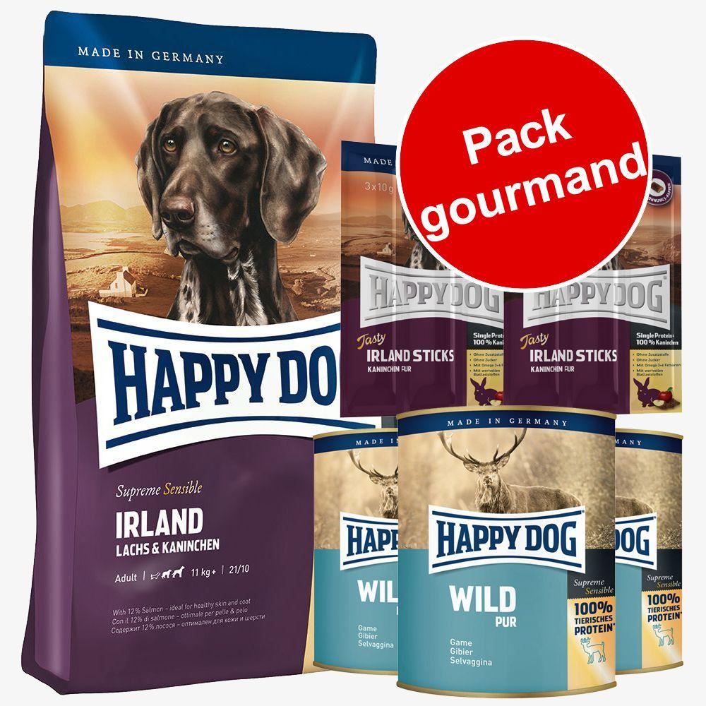 Pack gourmand croquettes + boîtes + friandises Happy Dog Irlande - 4 kg + 3 x 400 g + 6 x 10 g