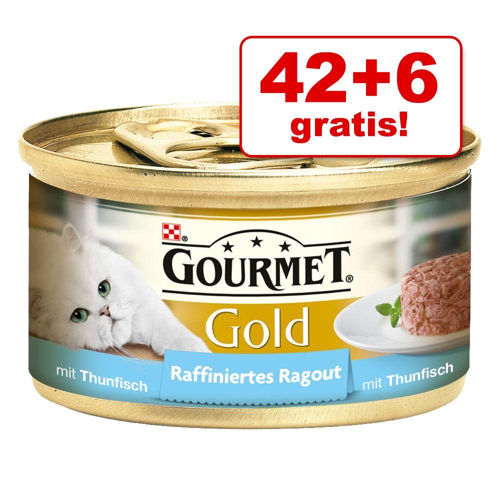 42 + 6 gratis! Gourmet Gold Ragout, 48 x 85 g - Łosoś