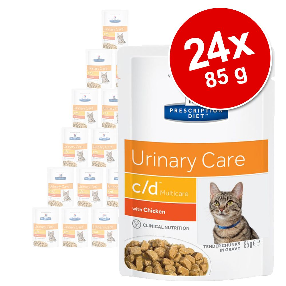 Ekonomipack: Hill's Prescription Diet Feline 24 x 85 g portionspåsar - 85 g c/d Urinary Stress Reduced Calorie Chicken