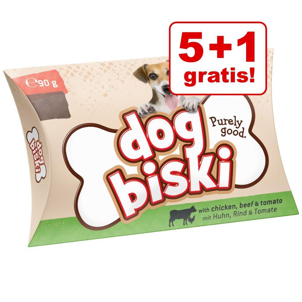 Image of 5 + 1 gratis! 6 x 90 g Briantos DogBiski biscotti - Pollo, Manzo & Pomodoro - 6 x 90 g