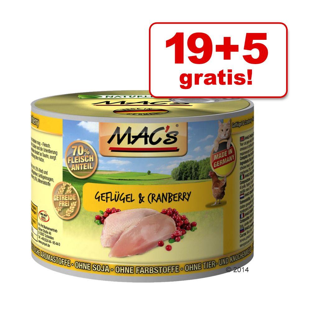 19 + 5 gratis! MAC´s Cat karma dla kota, 24 x 200 g - Kaczka, indyk, kurczak