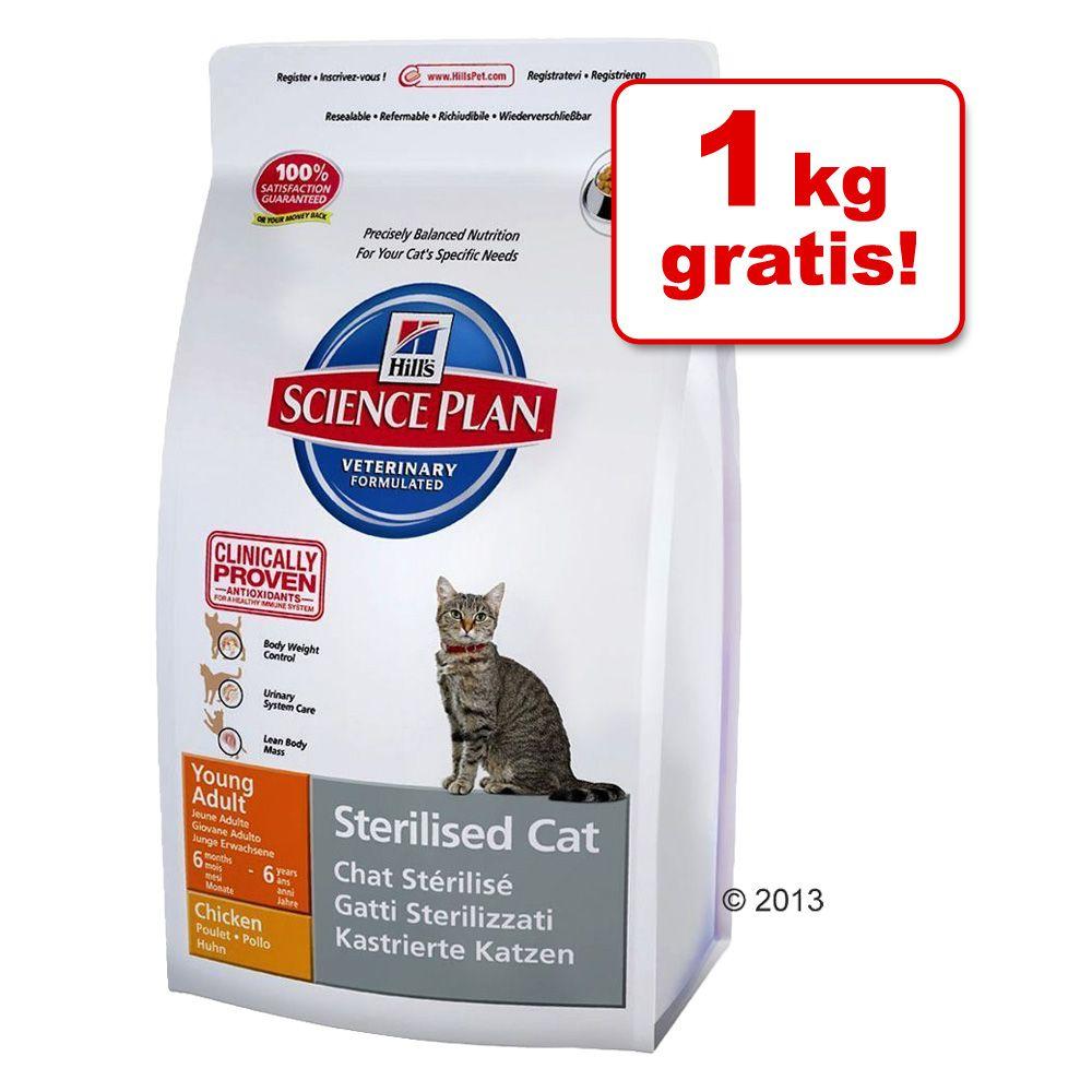 7 + 1 kg gratis! Hill's Feline, 8 kg - Young Adult Sterilised Cat, tuńczyk