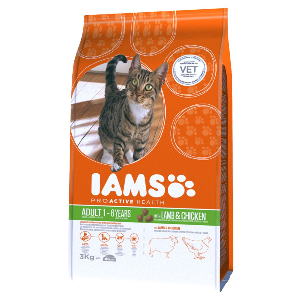 Iams Proactive Health Adult Cat with Lamb & Chicken Dry Cat Food - 3kg