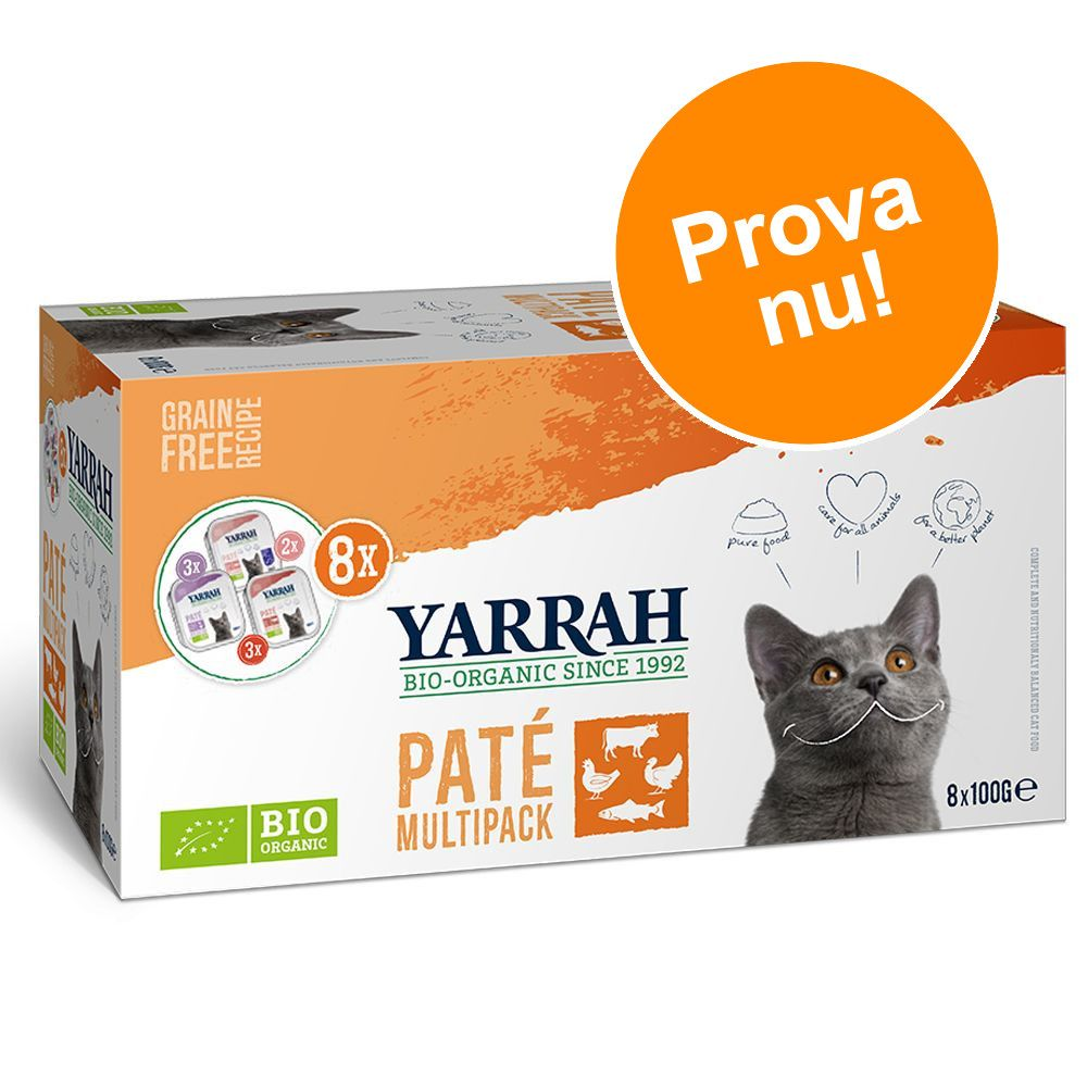 Blandpack: Yarrah Organic Paté 8 x 100 g - 8 x 100 g Eko-nötkött, eko-kyckling & eko-kalkon, lax