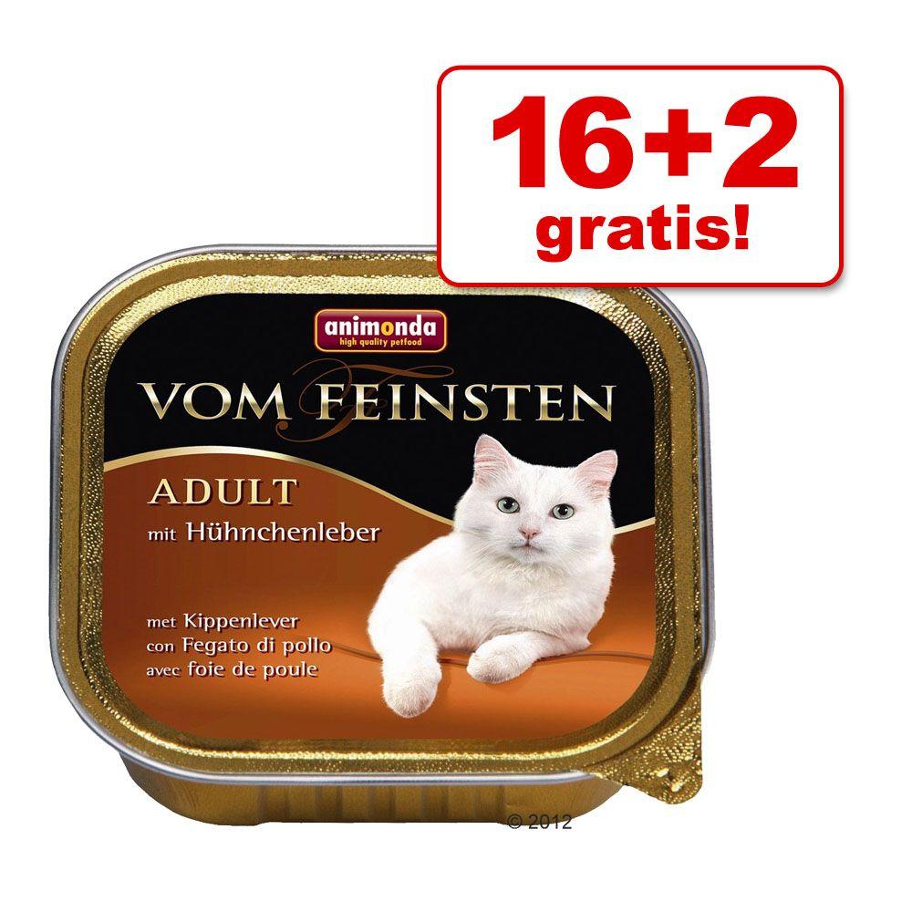 16 + 2 gratis! Animonda vom Feinsten Adult, 18 x 100g - Z nadzieniem, kurczak, wołowina i marchewki
