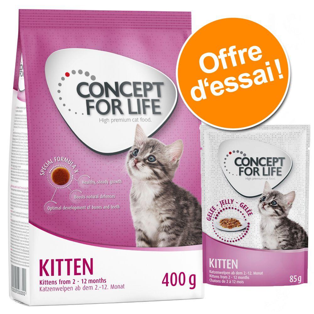 Offre découverte Concept for Life Kitten : croquettes + sachets en gelée, pour chaton