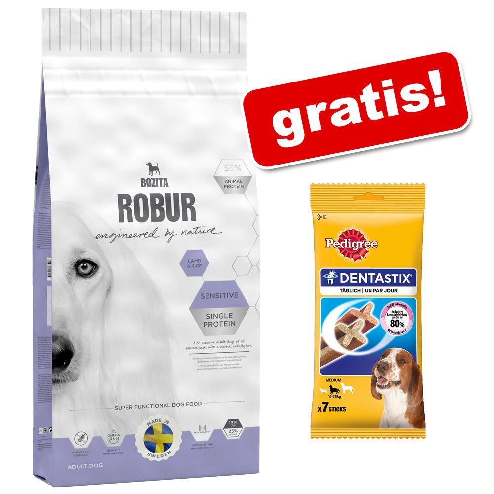 Duże opakowanie Bozita Robur + Pedigree Dentastix dla średnich psów, 180 g, 7 szt., gratis! - Mother & Puppy XL, 14 kg
