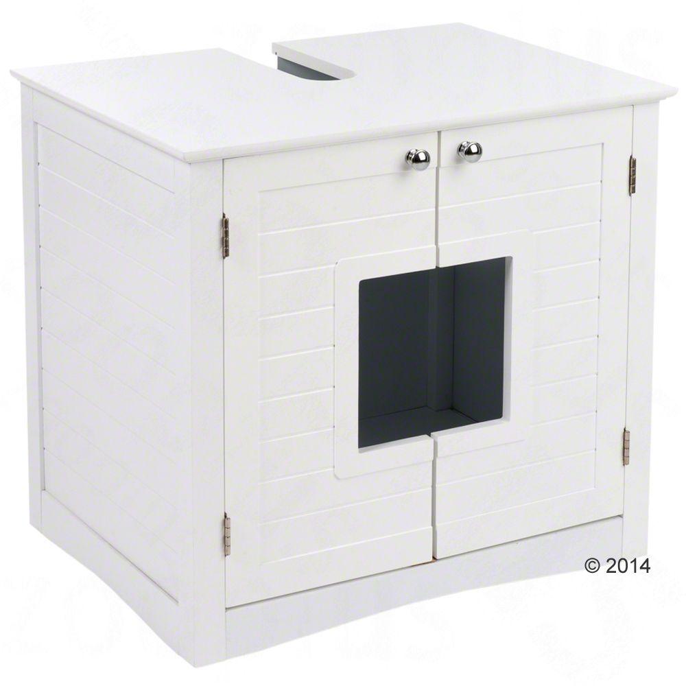 Waschbeckenunterschrank für Katzentoiletten - weiß (L 61,2 x B 45,9 x H 56,2 cm)